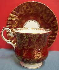 Vintage Elizabethan Tea Cup & Saucer Fine Bone China Made in England Deep Red
