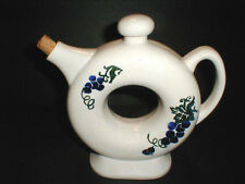 Ceramic Pottery  Big O Ring Doughnut Hole Wine Decanter/Carafe w Blue Grapes