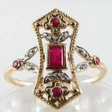 UNUSUAL LONG 9CT 9K GOLD ART DECO INS RUBY & DIAMOND RING FREE RESIZE