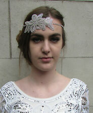 Silver Diamante Flower Headpiece Vintage Bridal Flapper 1920s Headband Deco M27