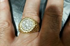 14k solid yellow gold nuggets ring with diamond, unisex