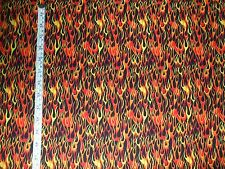 1/2 YARD QUILTING FABRIC - FIERY FLAMES ON BLACK - HEADGEAR BY FABRI-QUILT
