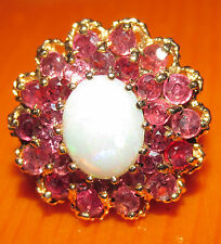 BEAUTIFUL SECONDHAND 9ct YELLOW GOLD OPAL & MULTI RUBY ROUND CLUSTER RING SIZE M