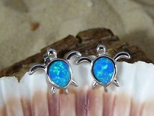 STERLING SILVER WITH BLUE FIRE OPAL SEA TURTLE POST EARRINGS