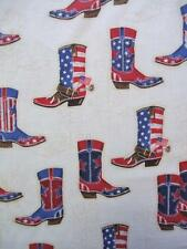 Red White and Blue Cowboy Boots USA American 4th July Robert Kaufman Fabric Yard