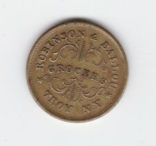 1863 War Token Redeemed at Our Store Robinson & Ballou Grocers Troy NY T-8