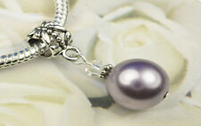 Mauve Crystal Pearl Dangle Charm Bead European Style w Swarovski Elements