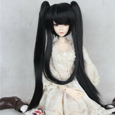 New 1/3  1/4 BJD  Hair Black Double ponytail Long Straight Girls Bjd wig
