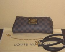 LOUIS VUITTON Eva Damier Ebene Chain Strap Clutch Cross Body Strap Handbag Bag