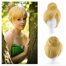 Fairy Tinker Bell Cosplay Wig Blonde Short Synthetic Hair Party Fancy Dress Prop