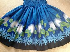 "NEW OCEAN BLUE  LEHUA  BLOSSOM  HAWAIIAN PAU PA'U HULA DANCE SKIRT 29"" LONG"