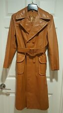 Vintage 1970's Womens GENUINE LEATHER Long Trench Coat  Sz 12 Rust