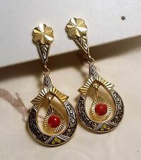 "ANCIENNES BOUCLES D'OREILLES OR DE TOLEDE ""PAS OR"" PERLES VINTAGE EARRINGS A150"