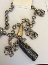 Lucky Brand   Silver Tone Rosary  Tassel W/ Pendant  Necklace $39.50 #160 (4)