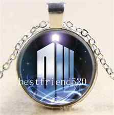Doctor Dr who tardis Cabochon Glass Tibet Silver Chain Pendant Necklace