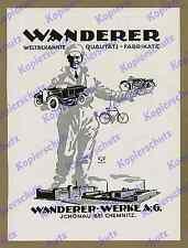 orig. Reklame Wanderer Werke Chemnitz Schönau Auto Motorrad Fahrrad Sachsen 1925