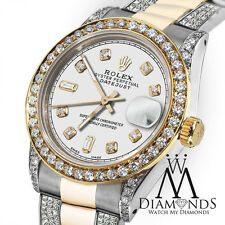 Women's 31mm Rolex Oyster Perpetual Datejust Custom Diamonds White Dial Accent
