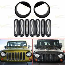 SET Mesh Grille Insert+ Angry Eye Headlight Bezel For 2007-2016 Jeep Wrangler JK