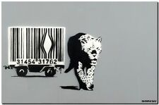 "BANKSY STREET ART CANVAS PRINT Barcode leopard gray 18""X 12"" stencil poster"