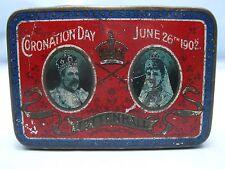 TETTENHALL WOLVERHAMPTON 1902 ANTIQUE EDWARD VII CORONATION ROWNTREE SWEET TIN*