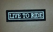 Live To Ride Title Rocker Biker Iron/ Sew-on Embroidered Patch/ Badge/ Logo