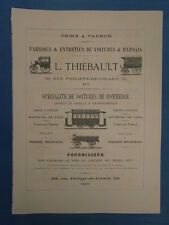PUBLICITE ANCIENNE ADVERTISING 1879 : FABRIQUE VOITURES TRAMWAY  L. THIEBAULT