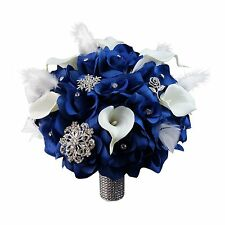 Bridal bouquet w/Brooches&Feather-Royal Blue,White ribbon,Real touch calla lily