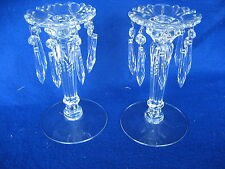 "Beautiful Pair of Heisey Candlestick with Prisms 8 1/4"" Tall"