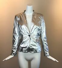 PIERRE BALMAIN Women's Metallic Silver Leather One Button Blazer-Cut Jacket -NWT
