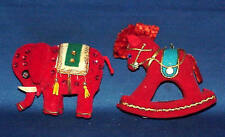 VINTAGE RED ELEPHANT AND ROCKING HORSE CHRISTMAS ORNAMENTS  MUST SEE