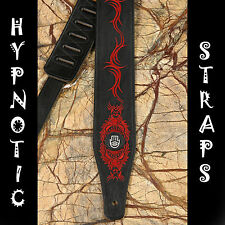 B- STOCK HYPNOTIC STRAPS DOUBLE FACE BLACK RED EMBROIDERY LEATHER GUITAR BASS