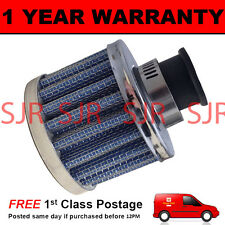 12mm MINI AIR OIL VENT VALVE BREATHER FILTER FITS MOST CARS BLUE & CHROME ROUND