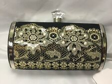 Debbie Brooks Black Satin Silver Clutch Bag Handbag Purse Lace Pearls New NWT