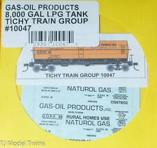 Tichy Train Group #10047 Decal for: Gas-Oil Products GOPX 8,000-Gallon LPG Tank