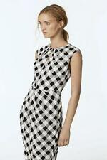 COUNTRY ROAD Black White Gingham Check Print Stretch Silk Dress 12 $249