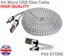 3m White Braided Flat Micro USB Charger Data Cable 3 Meter PREMIUM QUALITY  UK