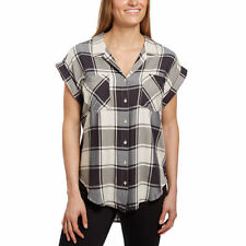 NEW Jachs Girlfriend Women's Cap Sleeve Button-Front Blouse Shirt Ivory Plaid M