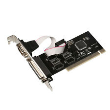 RS-232 Serial Port COM & DB25 Printer Parallel Port LPT to PCI Adapter Converter