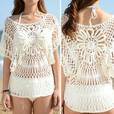 Women White Blouses Crochet T-Shirts Cover Up Beach Floral Sheer Lace Front OS