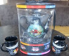 Disney Parks Alice In Wonderland Mad Hatter Ceramic Tea Pot and 2 cups RARE