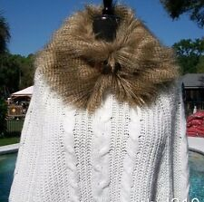 Cache Knit Poncho Sweater New XS/S/M Stretch Removable Faux Fur Collar $148 NWT