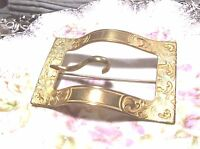 ANTIQUE ESTATE VICTORIAN ART NOUVEAU GOLD PLATED EMBOSSED BUCKLE BROOCH/PIN