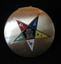 "Elgin American Vintage Brass make-up compact with mirror 3"" empty Star design"