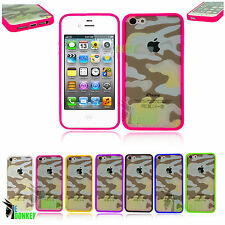 CAMOUFLAGE CUSTODIA COVER PER APPLE IPHONE 4 4S MIMETICA MILITARE LATI SILICONE