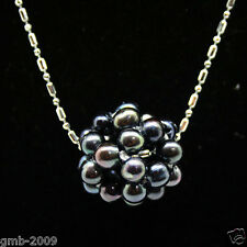 New 18-20mm Genuine Natural Black Freshwater Pearl Ball Pendant Necklace 17""