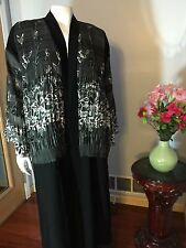 Beautiful Fancy Completely Open Khaleeji Dubai Abaya Arabic Jilbab Size XL 60