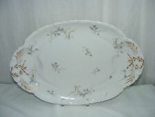 "Vintage Haviland limoges China 17"" Meat Platter Scalloped Rim Blue Floral Design"