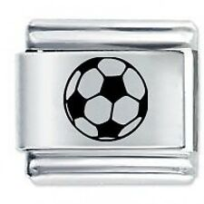 FOOTBALL Sport Etched - Daisy Charms Fits Classic Size Italian Charm Bracelet