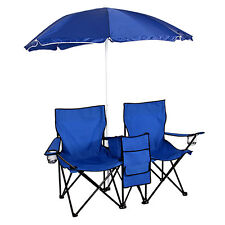 Folding Beach Chair with Umbrella Canopy Portable Outdoor Seat Cup Holders Blue