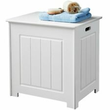 STYLISH STRONG WOODEN CHEST CABINET LAUNDRY BIN/GREAT STOARGE-WHITE